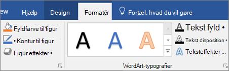 Klik på fanen Formatér