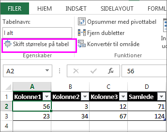 ved hjælp af indstillingen Skift størrelse på tabel i Tabelværktøjer