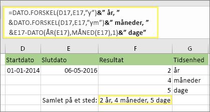 """= DATEDIF(D17,E17,""""y"""") & år """"&DATEDIF(D17,E17,""""ym"""") """"&"""" måneder, """"&DATEDIF(D17,E17,""""md"""")&"""" dage"""" og resultat: 2 år, 4 måneder, 5 dage"""