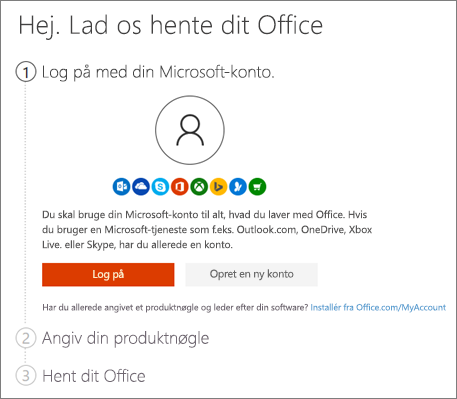 Viser startsiden for setup.office.com