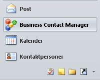 business contact manager button in the navigation pane