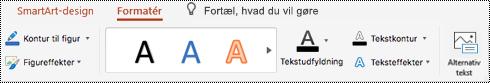 Knappen alternativ tekst på båndet til SmartArt i PowertPoint til Mac.