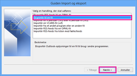Guiden Eksportér i Outlook – eksportere til en fil