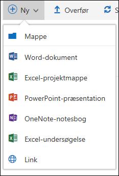 Office 365 Oprette en ny mappe eller et dokument