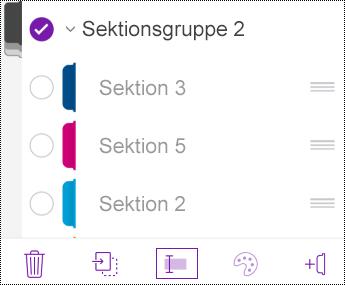 Omdøb en sektionsgruppe i OneNote til iOS
