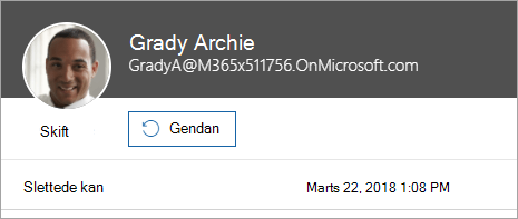 Skærmbillede, der viser kommandoen til at gendanne en bruger i Office 365 Administration.