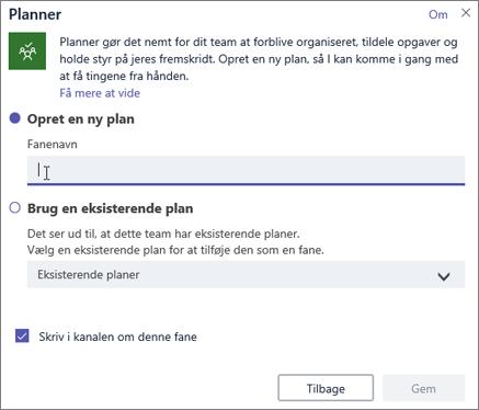Skærmbillede af dialogboksen Planner-fanen i Teams