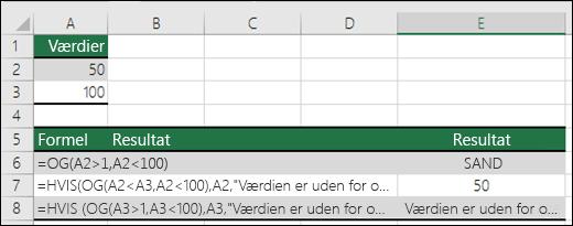 Eksempler på brug af funktionen HVIS med OG