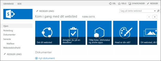 Screenshot af teamwebsted i SharePoint 2013