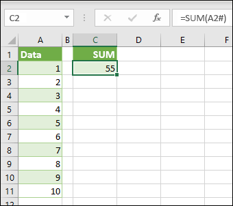 Operator for overløbsområde som reference for hele overløbsmatrixområder med =SUM(A2#).