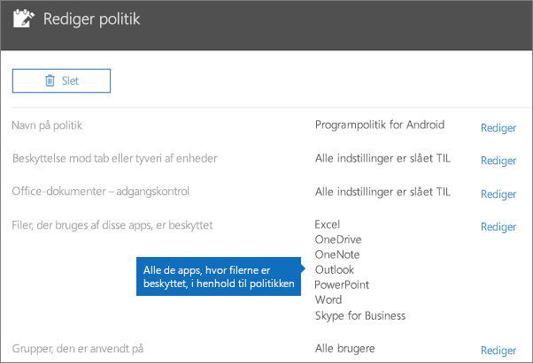 Viser alle apps, som denne politik beskytter filer for.