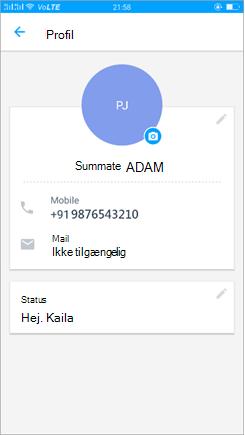 Skærmbillede af profilen for at opdatere status indstillingen
