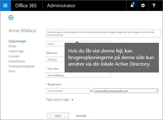 Fejl, når brugeroplysninger kun kan ændres i Active Directory