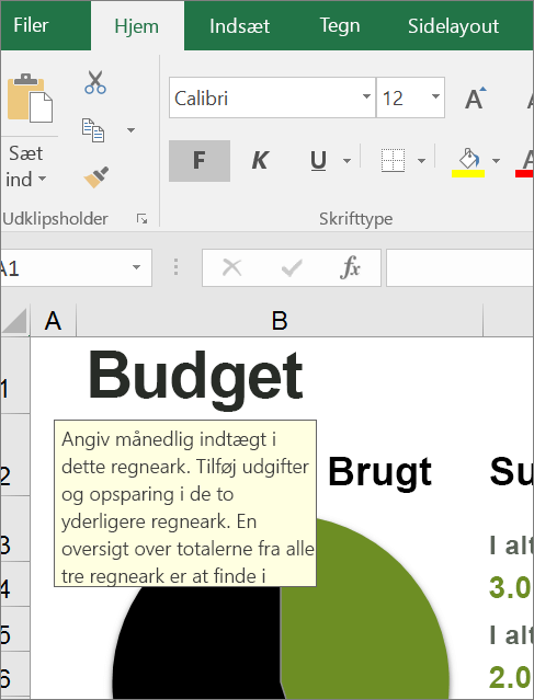 Skærmbillede af brugergrænsefladen i Excel, der viser indbygget vejledning