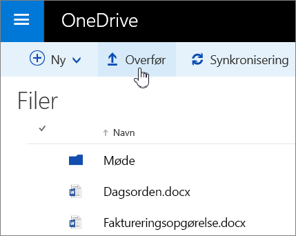 Skærmbillede af knappen Upload i OneDrive for Business i Office 365