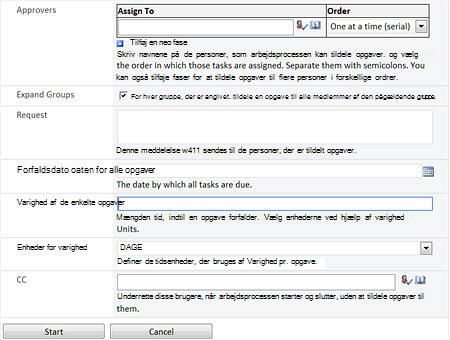 Arbejdsprocesser for SharePoint Designer