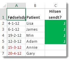 Eksempel på betinget formatering i Excel