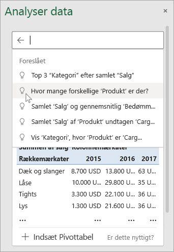 Idéer i Excel giver dig foreslåede spørgsmål, der er baseret på en analyse af dine data.