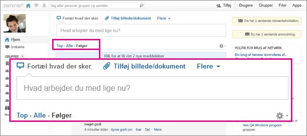 Screenshot af Yammer websted med et pink felt, der fremhæver visningsmulighederne Top, Alle og Følger
