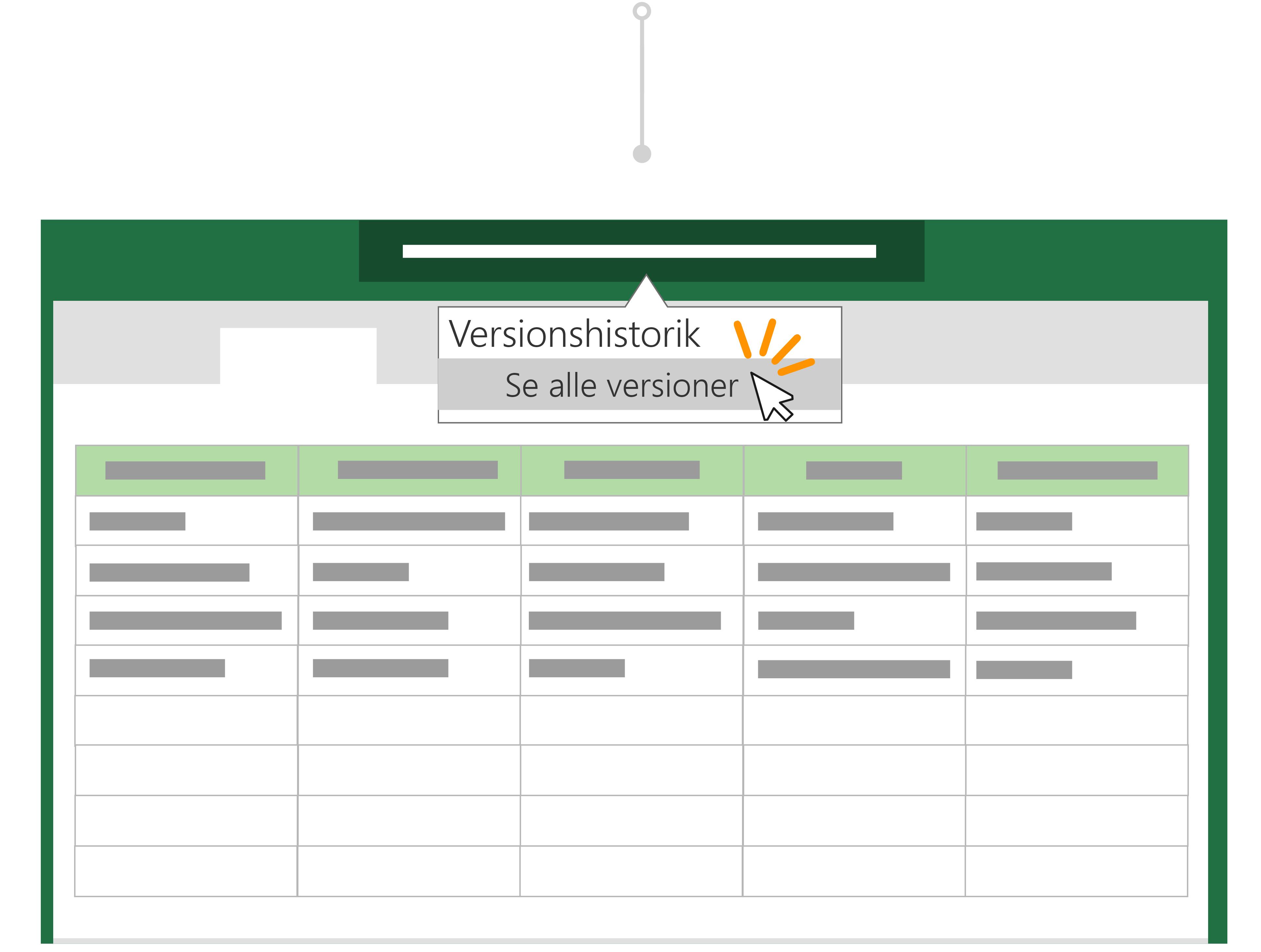 Brug Versionshistorik til at gå tilbage til en tidligere version af en fil.