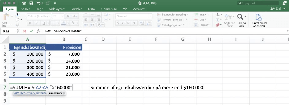 Skærmbillede af Excel-data, der bruger funktionen SUM.HVIS