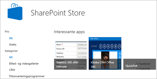 Visning af udvalget af apps i SharePoint Store.