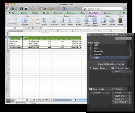 Excel-projektmappe, der viser den nye brugergrænseflade for pivottabeller