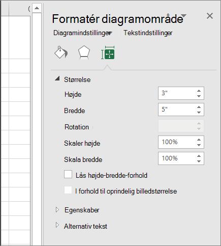 Du kan justere diagramstørrelsen i dialogboksen Formatér diagramområde