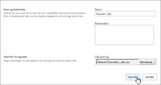 """Dialogboksen """"ny app"""" med navn og filplacering udfyldt, Importer fremhævet"""