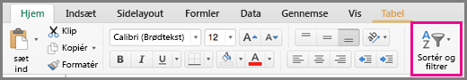 Kommandoen Sorter filter I Excel til Mac