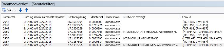 Netmon-sporing viser godkendelse af proxyen, filtreret efter samtale.