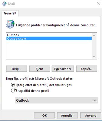 Skærmbillede af feltet Profiler i Outlook