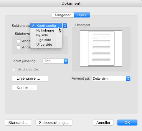 For at ændre et sektionsskift til fortløbende skal du gå til menuen Formater, klikke på dokument og derefter angive sektionsstart til Fortløbende