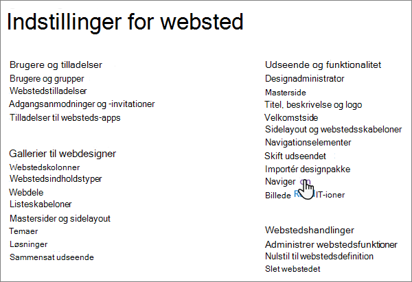Siden Indstillinger for websted i klassisk SharePoint, hvor markøren vælger navigation