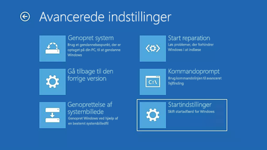 Skærmen Avancerede indstillinger i Windows Genoprettelsesmiljø.