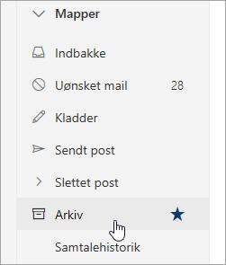 Et skærmbillede af mappen Arkiv