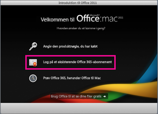 Installationsside til Office til Mac Home, hvor du logger på et eksisterende Office 365-abonnement.