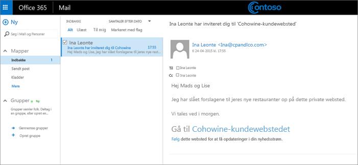 Eksempel på mail, der inviterer kunder til at få adgang til et underordnet websted for kunder.