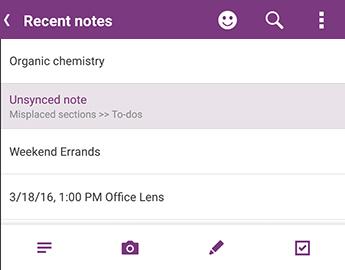 Listen seneste noter i OneNote til Android