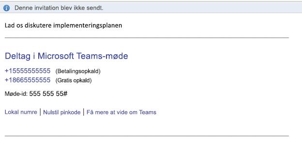Linket Deltag i Microsoft Teams i begivenhedens brødtekst