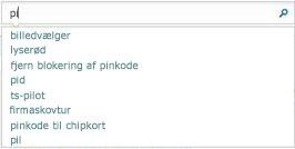Søgefeltet viser ord, der svarer til dem, brugeren indtaster