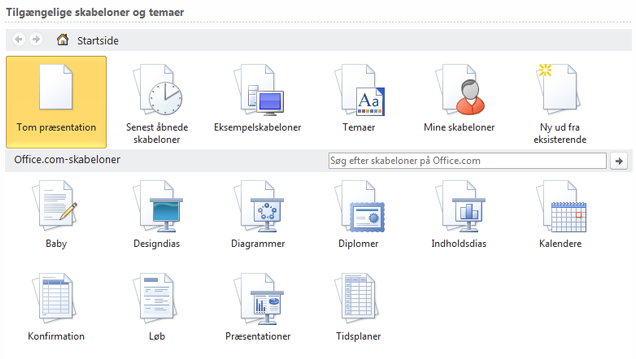 Vælge skabeloner online eller computeren
