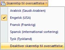 Deaktivere skærmtip til oversættelse