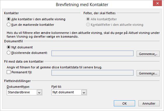 Klik på Brevfletning under fanen Hjem i mappen Kontakter for at starte en brevfletning