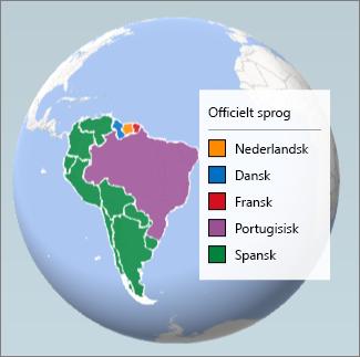 Områdediagram, der viser de talte sprog i Sydamerika