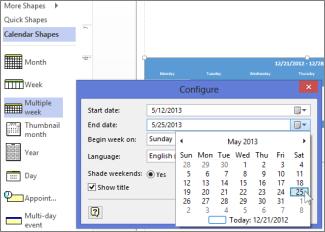 Opbyg en kalender i Visio