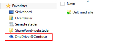 Synkroniseret OneDrive for Business-bibliotek under Favoritter i Windows