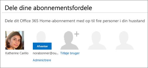 """Skærmbillede af """"Dele dine abonnementsfordele"""" på siden Del Office 365, der viser en delt bruger som ventende."""
