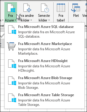 Power-forespørgsel Importer fra Azure dialogboksen