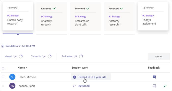 Klik på en sendt tildeling under afsnittet om studerende.